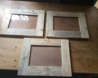 Pack of 3 Rustic A4 Frames made from reclaimed pallet wood
