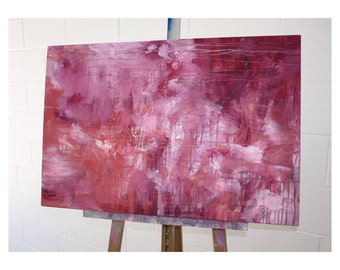 Original Abstract Acrylic Artwork Shades of red and pink with Black Felt Tip Pen Detail. Free Shipping!