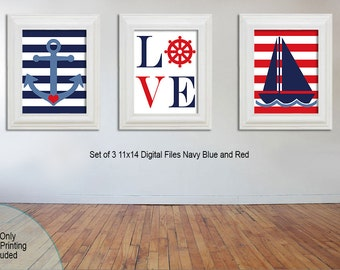 Nautical Nursery Decor, Art Prints, Little boy, Red, Blue, and Navy Anchor and Sailboat, Printable, Set of 3 11x14 downloadable file