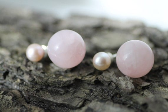 Rose quartz pearl earring - Gold earring - Silver earring - Rose quartz earring - Rose stone earring - Natural stone earring - Gift idea