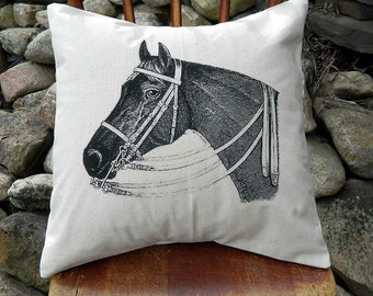 horse head pillow handmade canvas feed sack pillow cover full size pillow 16 x - Horses Head Pillow