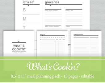 Meal Menu Planner - Weekly & Monthly Meal Plan Pages , Grocery Lists, Inventory Sheets, Recipe Planner - Editable PDF - Letter Size
