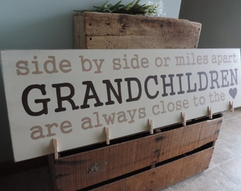 Side By Side Or Miles Apart, Grandchildren Are Always Close To The Heart, Grandparent Gift, Parent Gift