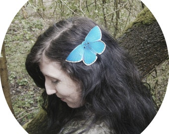 Adonis Blue butterfly hair clip