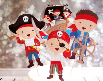 3 Set Pirate Themed Centrepiece/Cake Topper, Cupcake, Cake, Toppers, Picks, Party Picks
