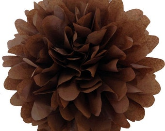 6inch 15cm BROWN/tissue paper pom pom / wedding decorations / diy / birthday party decorations / chocolate brown decorations /pompoms