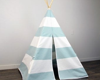 Kids Play Teepee Tent in Snowy Light Blue and White Large Horizontal Stripe Tipi print