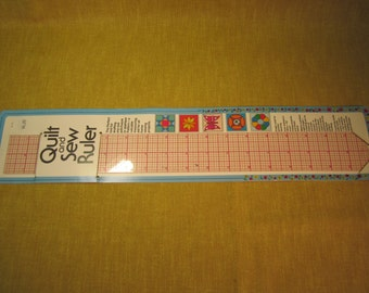 "18"" x 2"" Quilt and Sew Ruler, graph ruled, 1/16th inch increments,perfect right angles,for quilting, drawing,has holes to make circles"