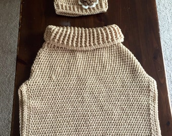 Girls hand crocheted pullover sweater vest pocho with matching hat