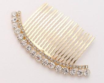 Bridal Comb - Rhinestone Gold Comb - Crystal Hair piece - Moon Crescent Hair Accessory - Bridal Hair Accessory - Wedding Hair Jewelry