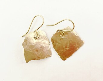 Hammered Brass Earrings, Square