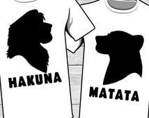 Hakuna Matata Iron On Transfer Printable Lion King Family Vacation couple matching t-shirt Disneyland Disneyworld relationship couples