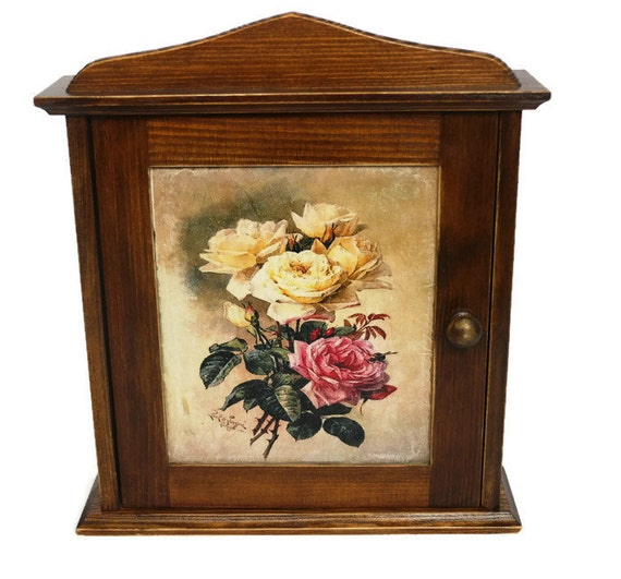 Key holder cabinet roses wood victorian