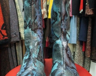 Stivaletti da donna vera pelle/Effetto pitone/ Made in Italy/Vintage woman boots/Half-calf/Real leather/Phyton printed/Made in Italy
