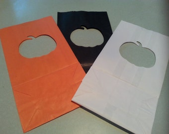 Halloween Luminary Bags - PUMPKIN (choose your color)  Pack of 10