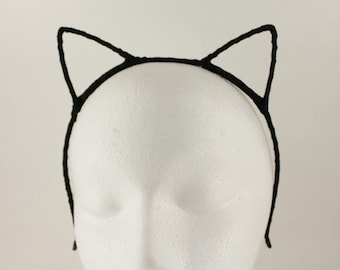 Black sparkly cat kitten ears headband head band kawaii cosplay kitty hair band accessory halloween costume