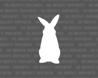 Curious rabbit silhouette decal, bunny vinyl sticker, glossy white