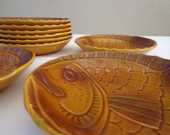 Sarreguemines France, 9 Fish plates, decorated with fish, brown, 1970's