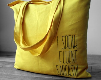 Yellow hand painted tote bag, Big shopping bag wth pocket, Reusable cotton bag by Kropka, Funny tote Custom