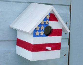 USA Stars and Stripes American  flag bird box