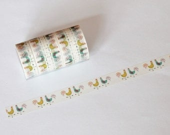 Pretty Roosters Washi Tape Rolls