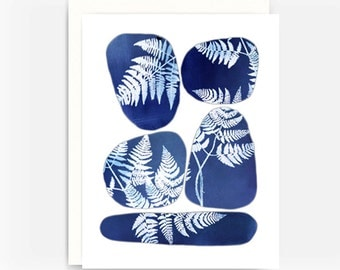 Blank Greeting Card, Note Card, A2 Card, Fossils and Ferns Note Card No. 2