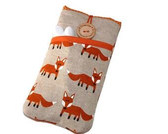 Nexus 5X fabric case, Nexus 4 Case Cover Pouch, Nexus 6 Sleeve, Nexus 5 Pouch, Fabric Case Nexus 6P,  Nexus 6P Sleeve  - foxes pocket