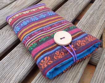 iPhone 7  Pouch Ethnic Fabric / iPhone 6 Plus Pouch / iPhone 6 Fabric Case /  iPhone SE cover / iPhone 5S Sleeve / iPod Touch 6g pouch