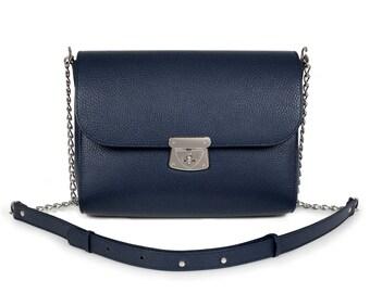 Leather Cross body Bag, Dark blue Leather Shoulder Bag, Women's Leather Crossbody Bag, Leather bag KF-455