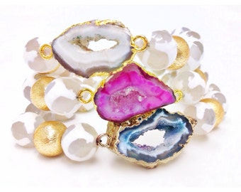 Gisselle Geode Stretch White Gemstone Bracelet