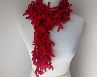 Red crochet branch scarf, necklace, scarflette