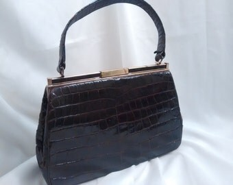 1950's Bellestone, Vintage Ladies Handbag, Brown Alligator Kelly Handbag,Vintage Fashion Accessory