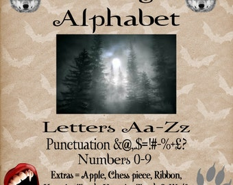 Moonlight Alphabet - Full Size - Make any name date or word Plus extras - Book folding Pattern PDF