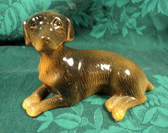 Pottery Style Laying Labrador Retriever Figurine