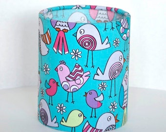 Lantern Night Light in Turquoise Bird Fabric - Safe Battery Operated Tea Light