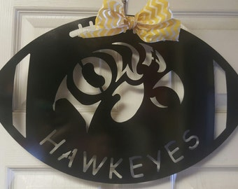 IOWA Hawkeyes metal door hanger, University of Iowa