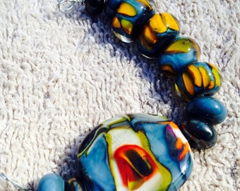 Lampwork pendant with spacer beads