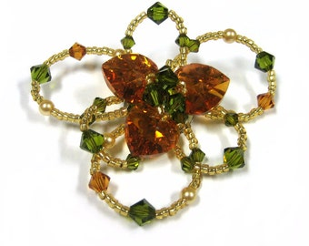 Pearl and Swarovski Crystal Flower Brooch Pin