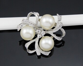 2PCS Rhinestone Brooch Pearl Crystal Brooch Bridal Brooch Wedding Bouquet Wedding Cake decoration Hair Comb Shoe Clip DIY Supply