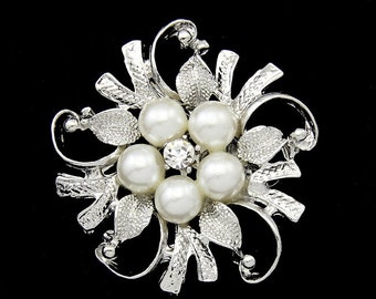 0.98 each -10PCS Flower Rhinestone Brooch Pearl Crystal Brooch Bridal Brooch Wedding Bouquet Wedding Cake decoration Hair Comb Shoe Clip