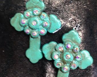Polymer Clay cross earrings