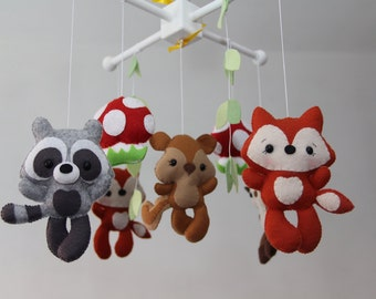 Baby Crib Mobile -  woodland animals Mobile - Nursery Forest Crib Mobile -Forest Little Creatures-Baby Mobile