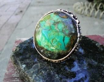 Marbled Verdi Copper Ring.  Rustic.  34mm Stone. Fire cut Bezel.