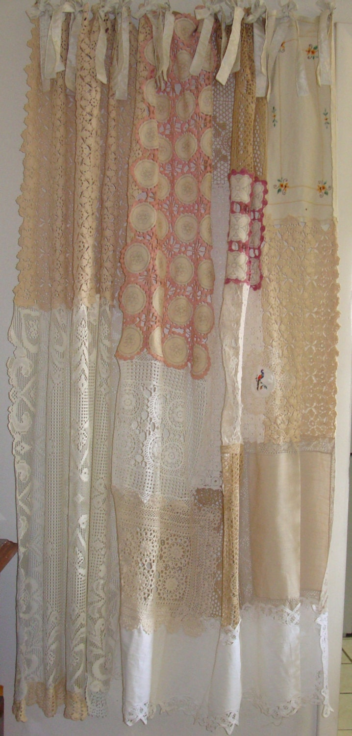 vintage shower curtains shabby chic shower curtain vintage crochet 29059