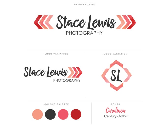Branding Package - Photography Logo and Watermark - Chevron - Font Script - Logo Design - Watermark - Premade Marketing Kit - BPL07