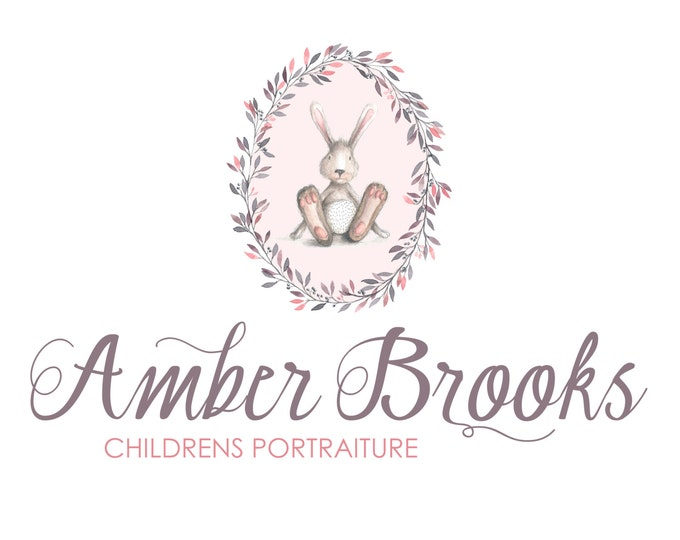 Watercolor Logo and Watermark  - Bunny Wreath -  Script Font - Professional Photography Logo Design - Watermark - Premade Logo Design - PL08