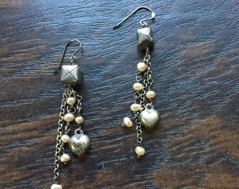 Sterling silver reconstructed  vintage earrings,