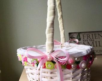 Wedding Flower girl basket - Ivory, green and pink buttons, Button bouquet, Bridesmaid bouquet, UK seller