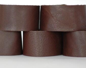 Wholesale Leather Cuffs- Dark Brown Deer Skin Wristbands- 5pk Blanks- Genuine Leather