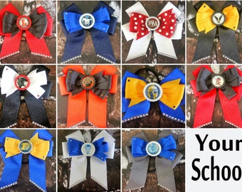 School Spirit hairbows.  You choose your school.  Cheerbow style.